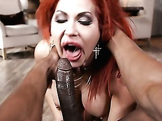 Wicked And Wild Ginger-haired Cougar Gobbles Big Black Cock And Taunts It With Her Big Breasts