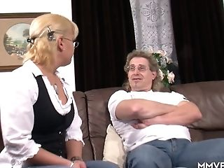 Nerdy Blonde In Glasses Gets Intimate With Her Perverted Step Patriarch