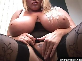 Enormous Natural Tits Assistant In Stockings Laura Masturbate