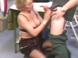 Lucky Man Gets Caught By A Blonde Cougar In Black Stockings