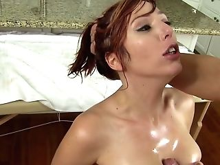 Oiled Torrid Cougar Lauren Phillips Gets Her Raw Poon Fucked By Excited Masseuse