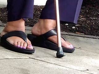 Matures Bbw Sneaks Lotion On Feet