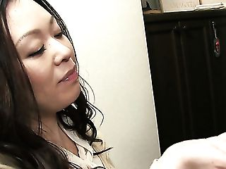 Brown-haired Asian Mummy Blows Dick Of A Nerdy Youthfull Man For Jizz Flow