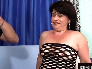 Horny Granny Jenna Jingles Takes A Stiff Pink Cigar In Her Mouth And Twat