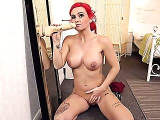 All Alone Bright Red-haired Roxi Keogh Plays With Her Faux-cock In Front Of Mirror