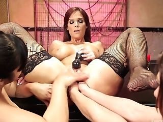 Three Voluptuous Lesbos Love Handballing And Fuck Stick Fucking Each Others Opens Up Butt Fuck-holes
