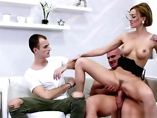 Hot Ginger-haired Mummy Abases Her Bf And Fucks Hard Her Paramour