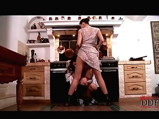 Perverse Mistress Makes A Subordinated Maid Give Her A Tongue Fuck