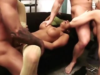 Two Guys Bang Hot Blonde And Brown-haired Stunners In The Living Room