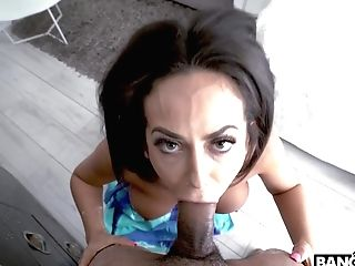 Hump-starved Bitch With Tasty Melons Gives A Filthy Deepthroat Oral Job