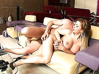 Fabulous Sweet Milky Blondie On The Couch Licks Big Dick And Rails It On Top