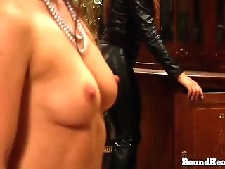 The Education Of Erica: Two Beautiful Lezzy Victims Whipped In Restrain Bondage